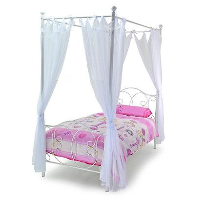White metal 4 poster bed frame