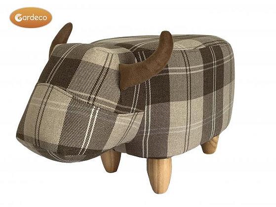 Tartan Cow Footstool