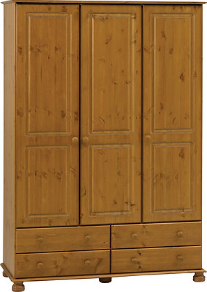 Pine 3 door, 4 drawer wardrobe