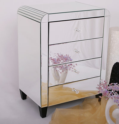 Mirrored Bedside Chest with Four Drawers