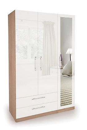 Kew 3 door wardrobe with mirrror and drawers