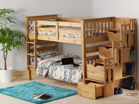 Pine wooden bunks with staircase and storage