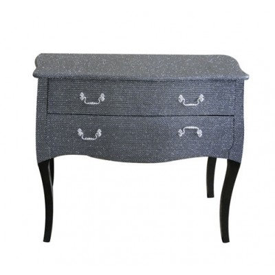 Black Glitter 2 drawer chest