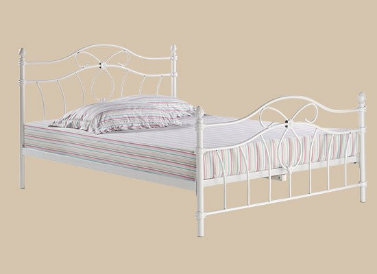 Monaco white metal bed frame