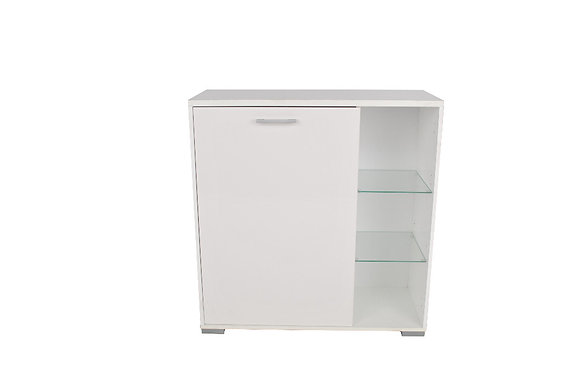 White sideboard with glass shelves