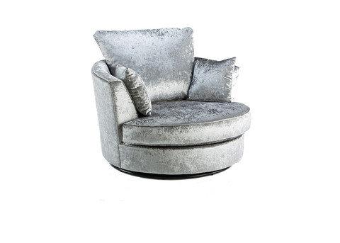 Crushed velvet swivel chair