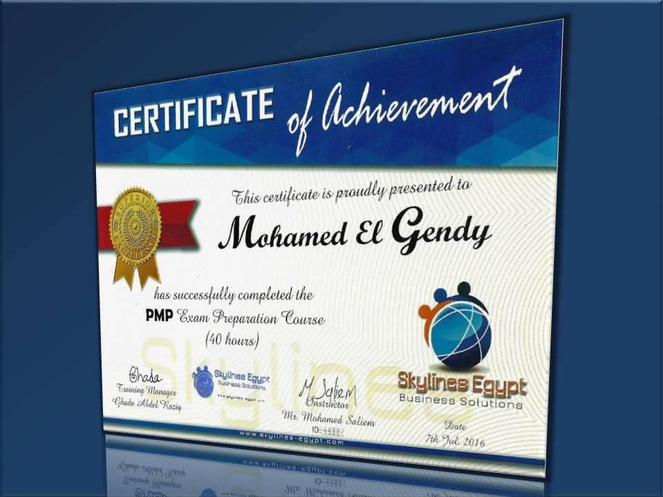M El Gendy certificate