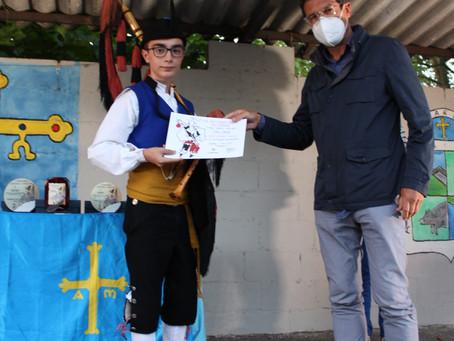 """Nuestro joven gaitero César, en el XVIII Certamen de Gaita Asturiana """"Premio Gaiteru de Lliberdón"""""""