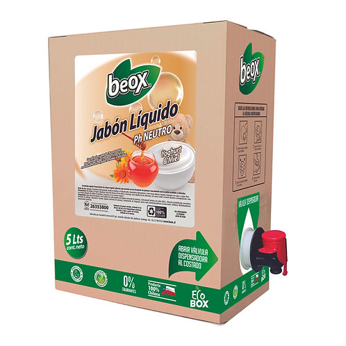 Jabon Liquido Yoghurt Miel Beox® 5Lts - CAJA CON 4UNIDADES