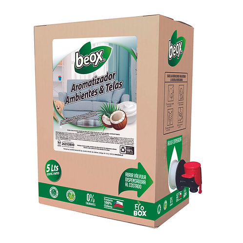 Aromatizador ambiente y telas Yogurt Coco  BEOX® 5 Lts - CAJA CON 4UNIDADES