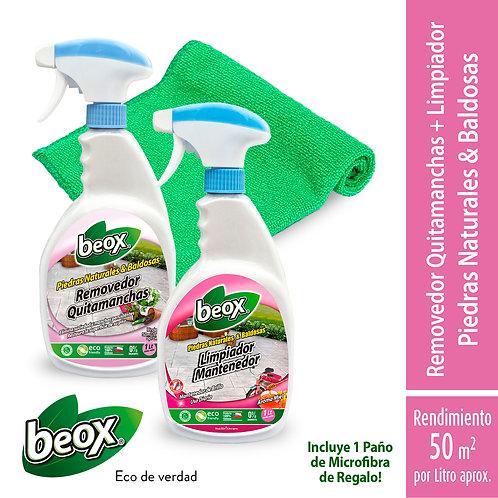 Removedor + Limpiador Piedras/Baldosas + Paño de Regalo Beox® 1Lt/G