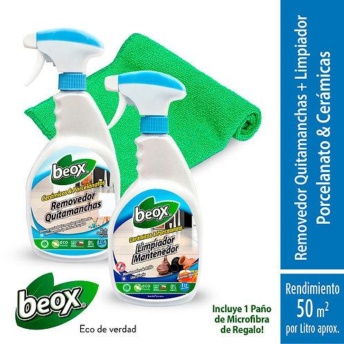Removedor + Limpiador Piso Ceramicas/Porcelanato + Paño de Regalo Beox® 1 Lt/G