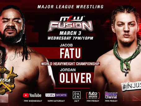 Jacob Fatu Defends World Championship Against Jordan Oliver This Wednesday On MLW Fusion