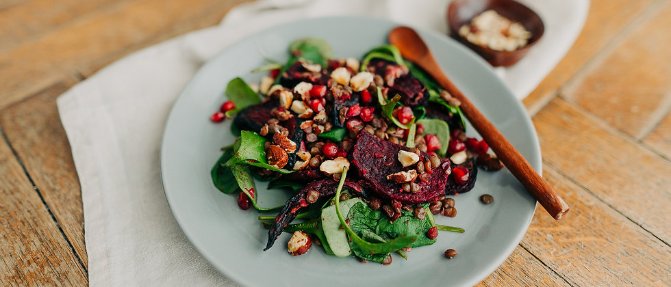 Salade de betteraves rouges aux lentilles et noisettes