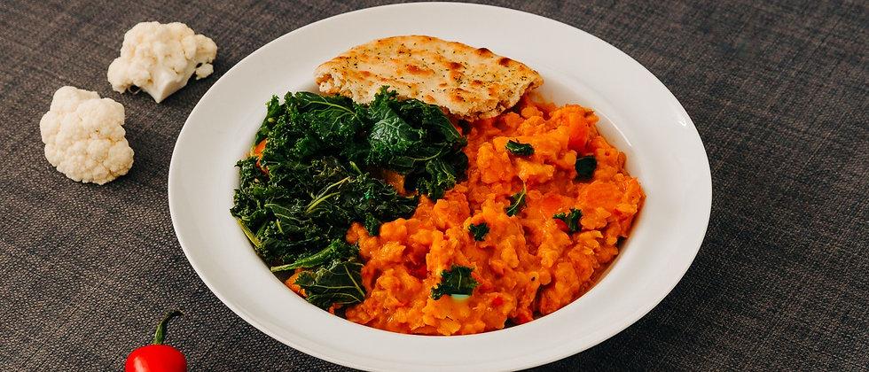 Dahl aux chou-fleur, patates douces et carottes