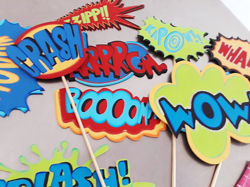 Letreros decorativos super heroes (set de 10pzas)