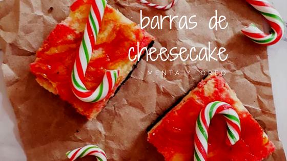 Barras de cheesecake, menta y oreo