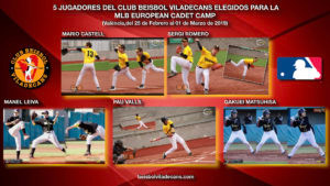 5 Jugadores del Club Beisbol Viladecans elegidos para la MLB EUROPEAN CADET CAMP en València