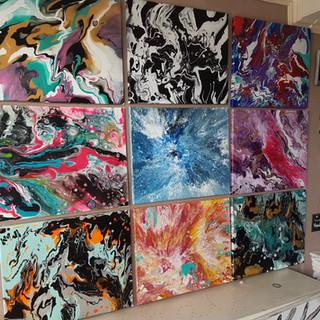 abstracte kleurenexplosies