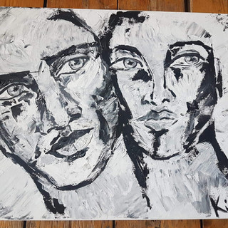 zwart wit schilderij met het mes gemaakt