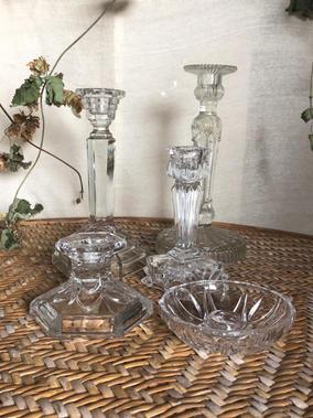 Vintage glass candle sticks