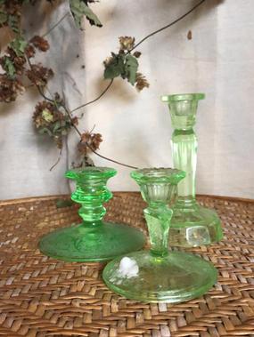 Green vintage candle sticks