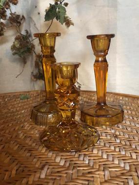 Amber vintage glass candle sticks