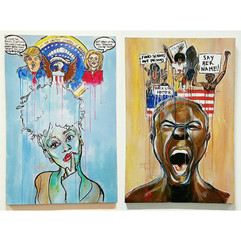 """""""pondering pander""""  (left)  """"To Black and  Relatively Concious in America"""" (right)"""