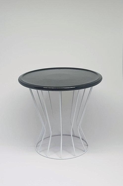 Suporte trapézio branco - Prato disco preto