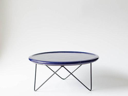 Prato Disco azul marinho suporte baixo preto