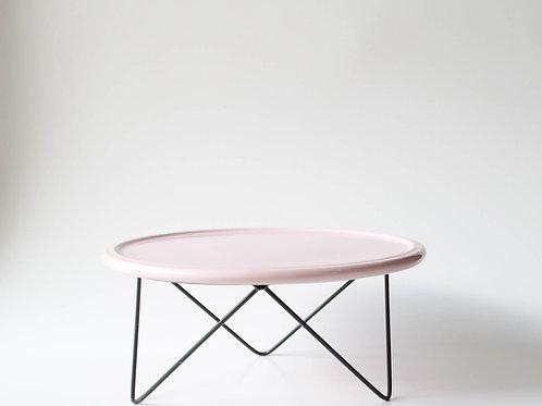 Prato Disco rosa suporte baixo preto
