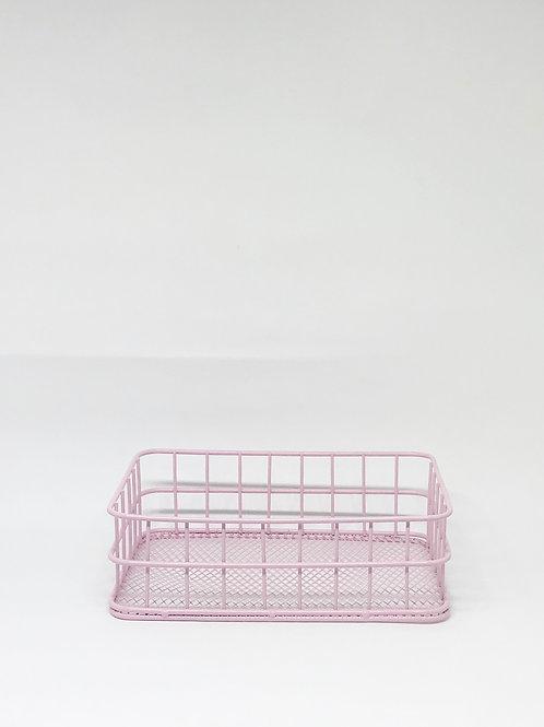 Cesto ret aramado P rosa claro