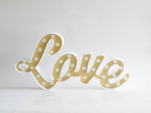 "Luminoso ""LOVE"" dourado"