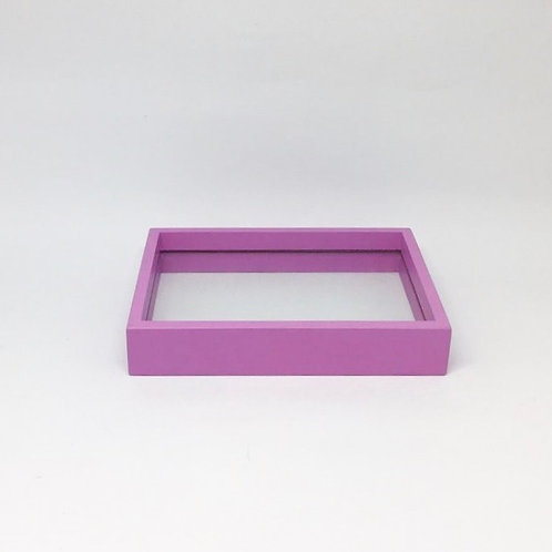 Bandeja madeira e vidro lilás