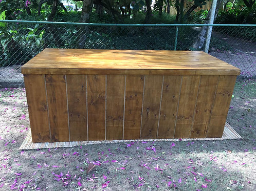 Mesa caixa madeira escura 210(L)X92(P)X80(A)