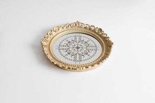 Bandeja Versailles dourada com espelho