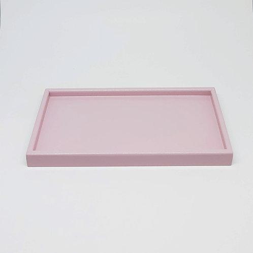 Bandeja retangular laqueada rosa chá