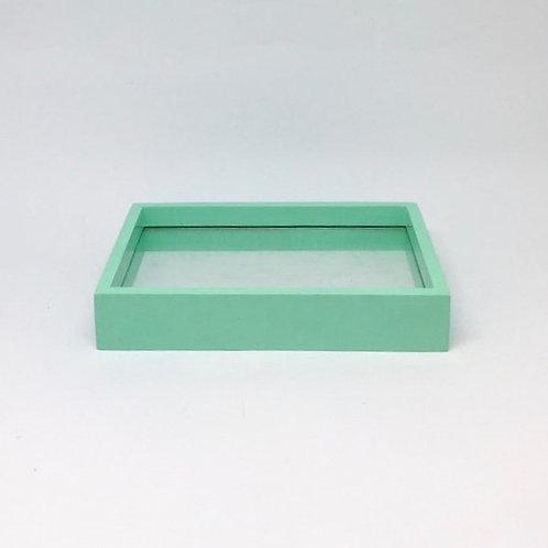 Bandeja madeira e vidro verde água