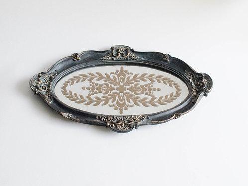 Bandeja oval Versailles preta com espelho