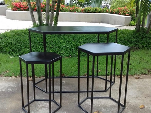 Conjunto mesas sextavada preta