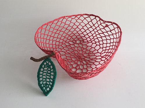 Cesta crochet Maça vermelha