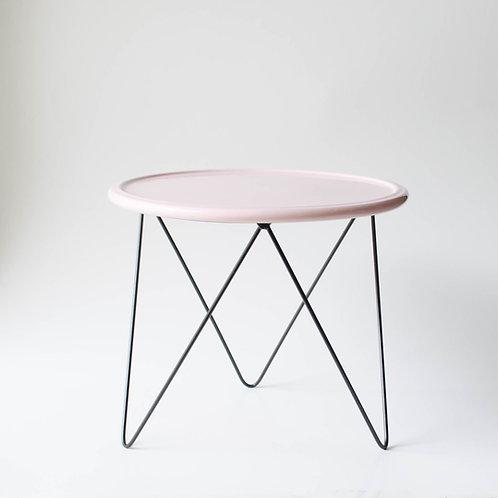 Prato Disco rosa suporte alto preto