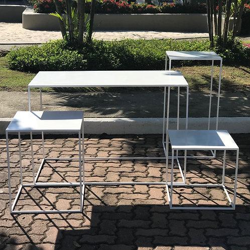 Conjunto mesas cubo branca