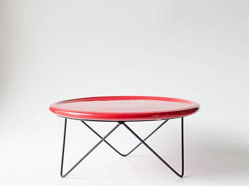 Prato Disco vermelho suporte baixo preto