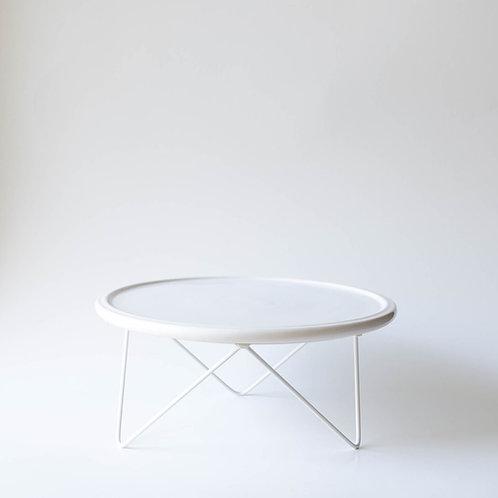 Prato Disco branco suporte baixo branco