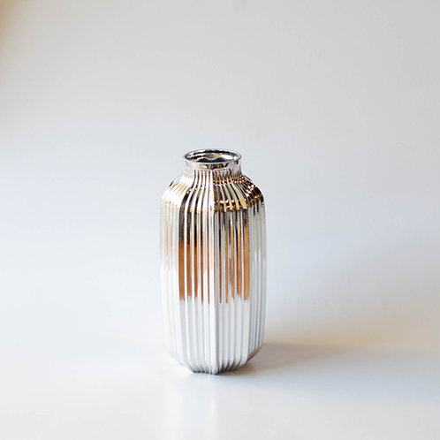 Vaso vidro prateado