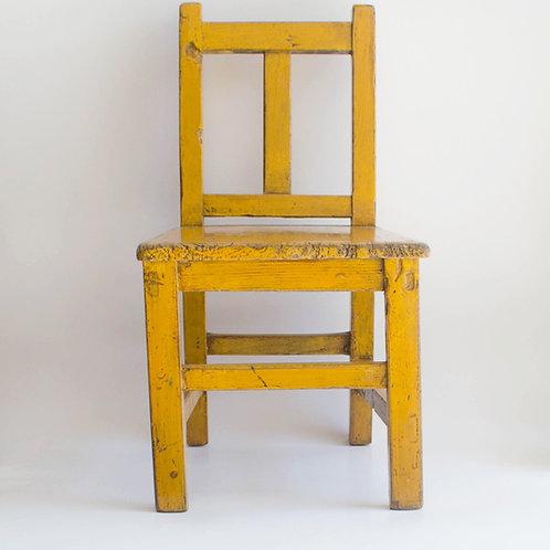 Cadeira madeira amarela