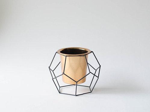 Vaso Geométrico cobre e preto