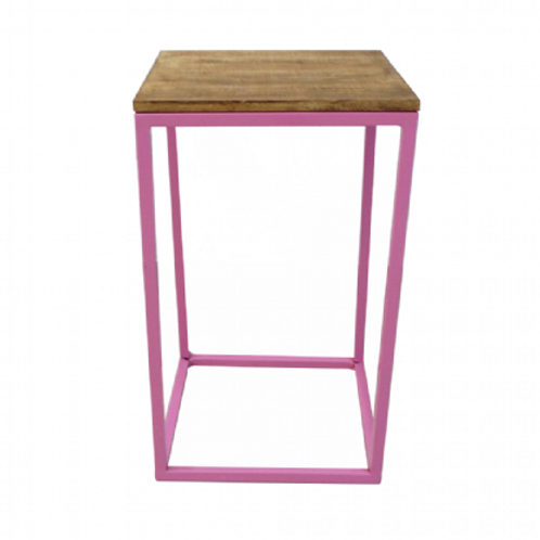 Mesa cubo rosa 40(L)x40(P)x66,5(A)