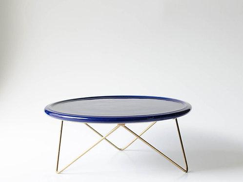 Prato Disco azul marinho suporte baixo dourado